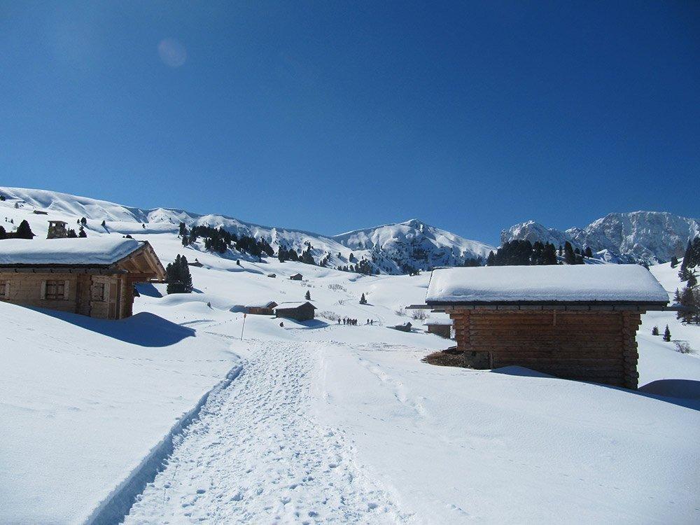 groednerwiesen im winter Giro escursionistico ad ovest dell'Alpe di Siusi
